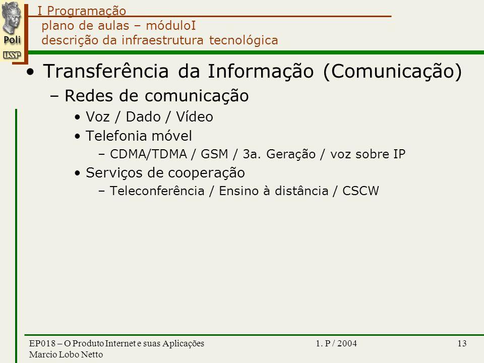 I Programação 1. P / 2004EP018 – O Produto Internet e suas Aplicações Marcio Lobo Netto 13 plano de aulas – móduloI descrição da infraestrutura tecnol