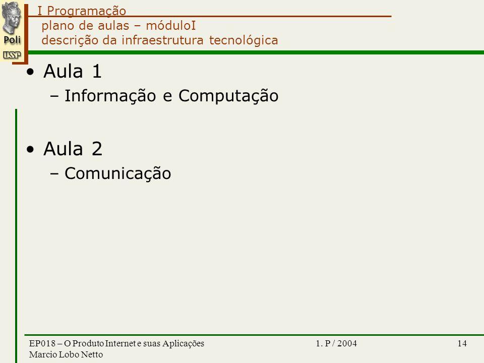 I Programação 1. P / 2004EP018 – O Produto Internet e suas Aplicações Marcio Lobo Netto 14 plano de aulas – móduloI descrição da infraestrutura tecnol