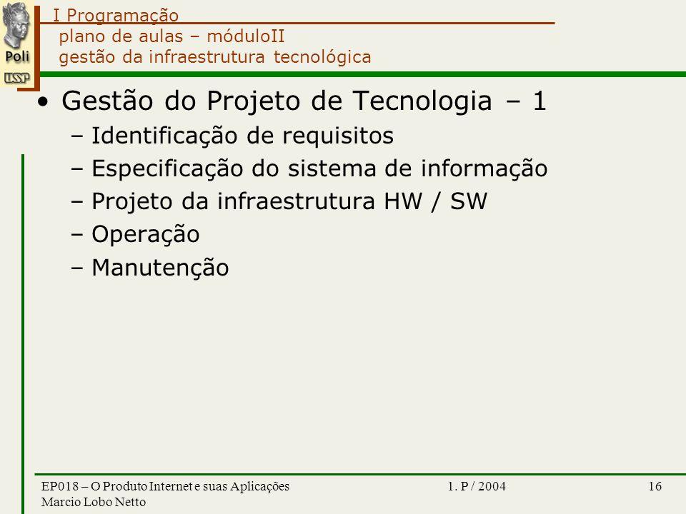 I Programação 1. P / 2004EP018 – O Produto Internet e suas Aplicações Marcio Lobo Netto 16 plano de aulas – móduloII gestão da infraestrutura tecnológ