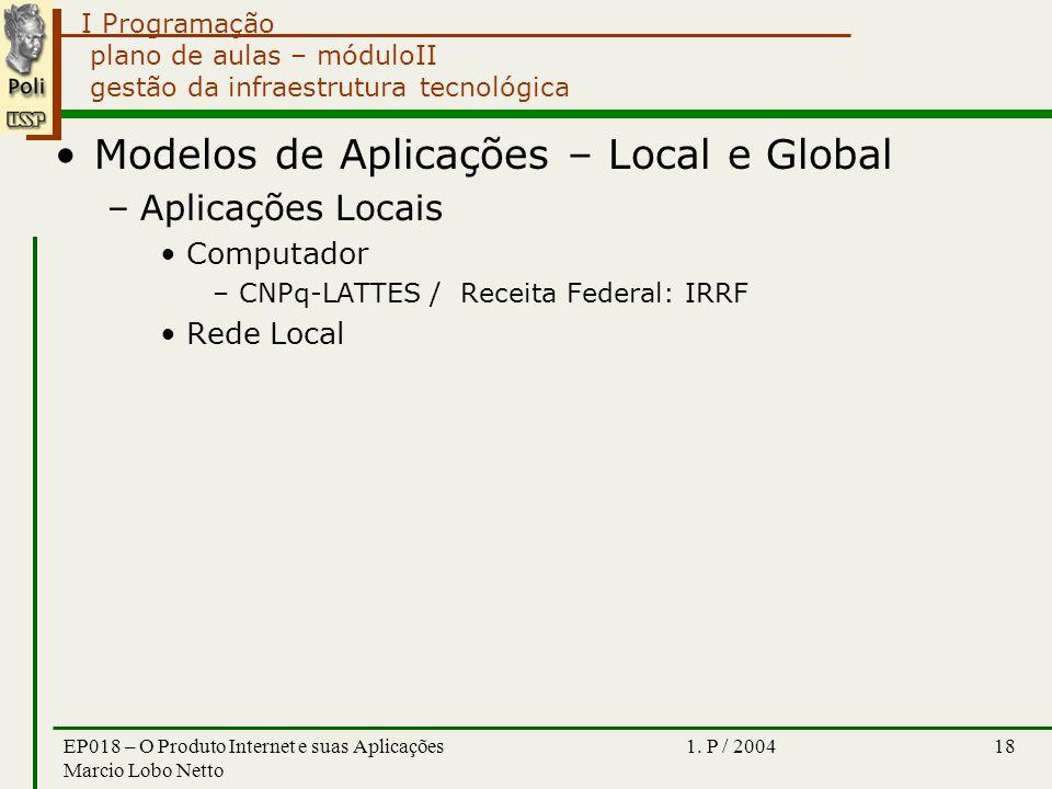 I Programação 1. P / 2004EP018 – O Produto Internet e suas Aplicações Marcio Lobo Netto 18 plano de aulas – móduloII gestão da infraestrutura tecnológ