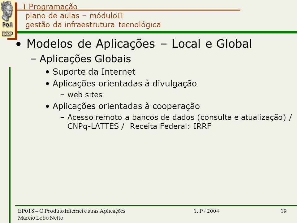 I Programação 1. P / 2004EP018 – O Produto Internet e suas Aplicações Marcio Lobo Netto 19 plano de aulas – móduloII gestão da infraestrutura tecnológ