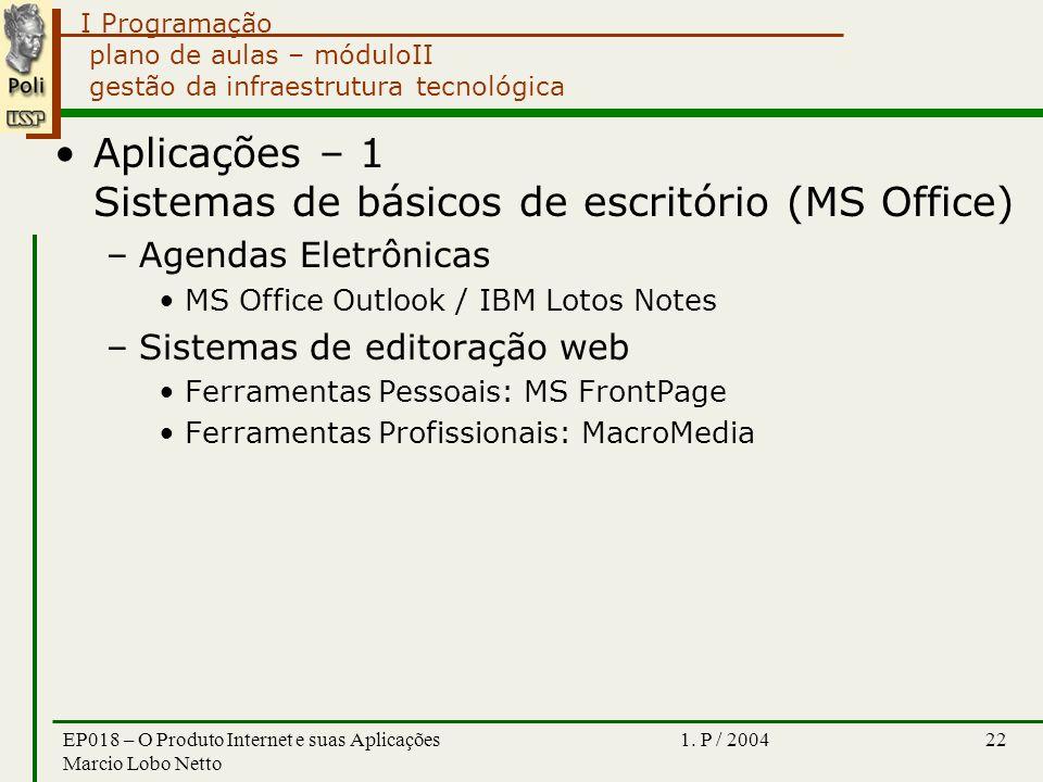 I Programação 1. P / 2004EP018 – O Produto Internet e suas Aplicações Marcio Lobo Netto 22 plano de aulas – móduloII gestão da infraestrutura tecnológ