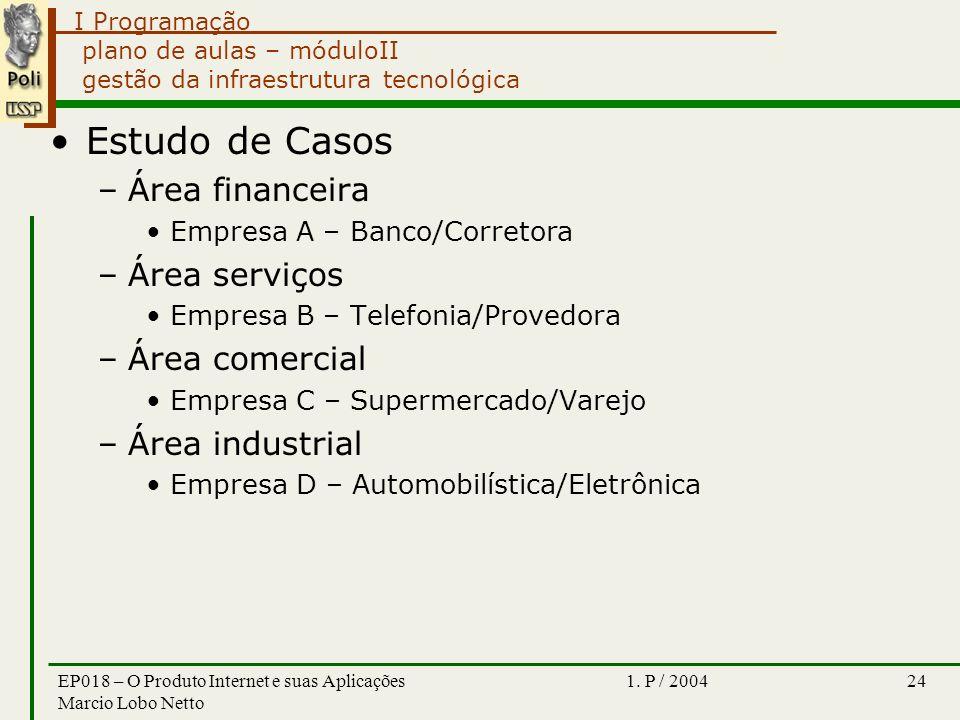 I Programação 1. P / 2004EP018 – O Produto Internet e suas Aplicações Marcio Lobo Netto 24 plano de aulas – móduloII gestão da infraestrutura tecnológ