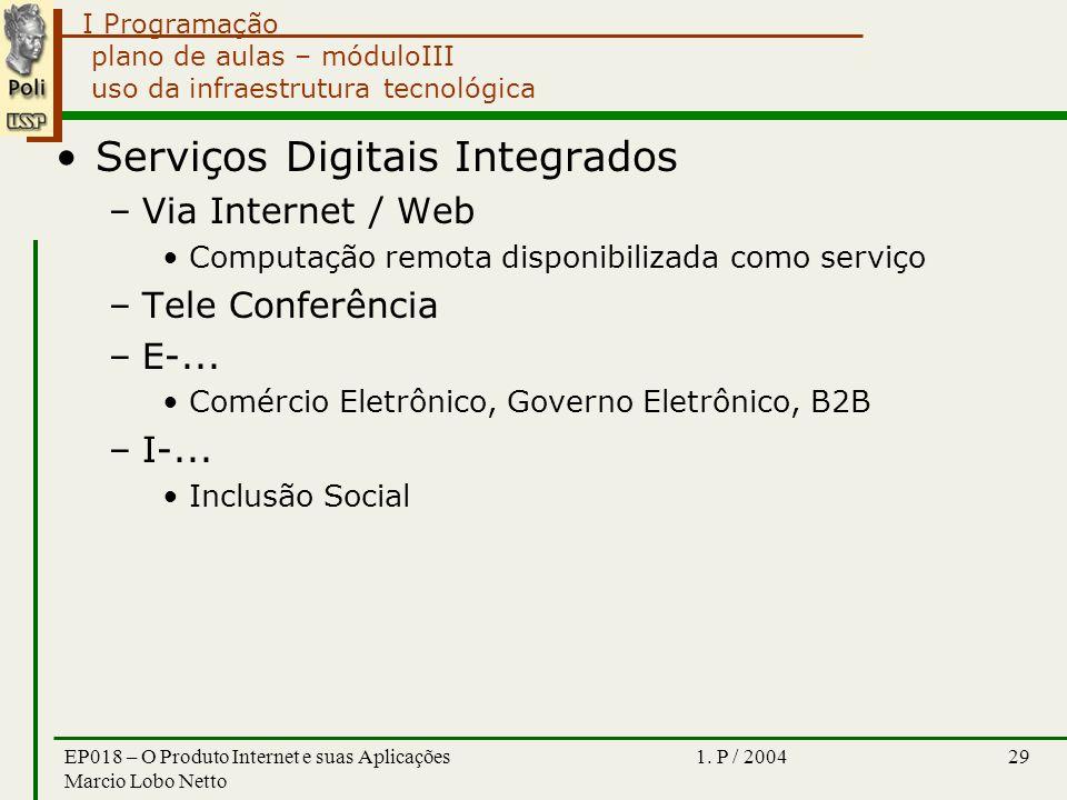 I Programação 1. P / 2004EP018 – O Produto Internet e suas Aplicações Marcio Lobo Netto 29 plano de aulas – móduloIII uso da infraestrutura tecnológic