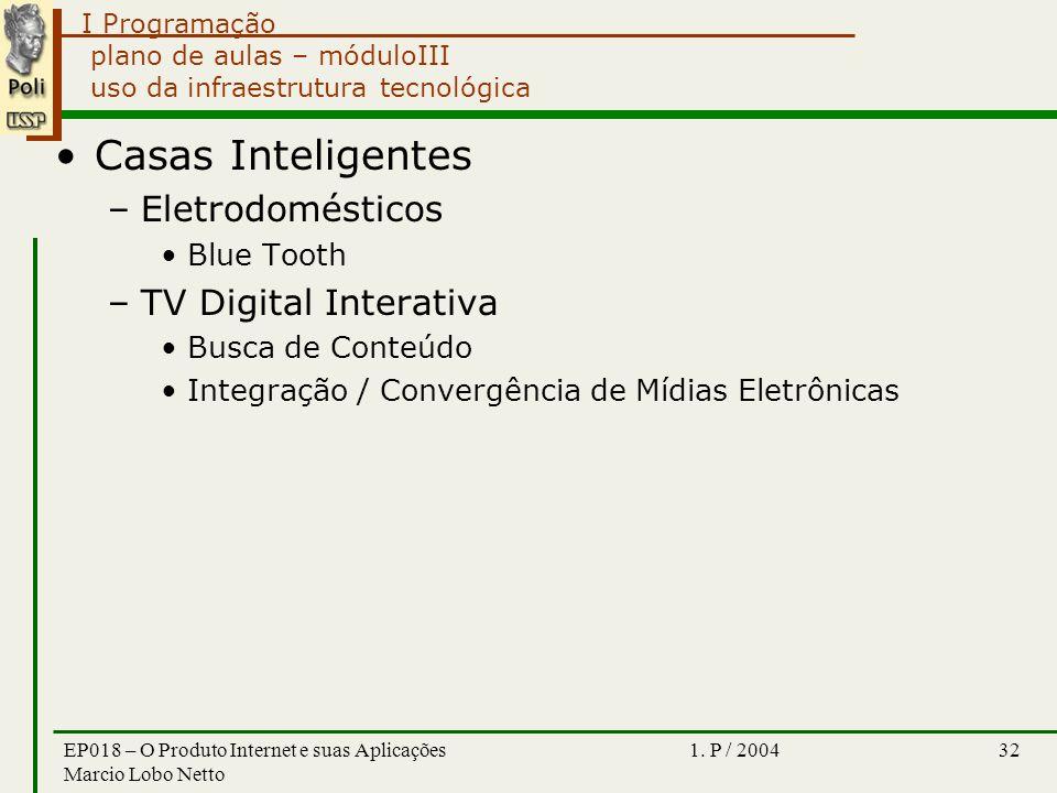 I Programação 1. P / 2004EP018 – O Produto Internet e suas Aplicações Marcio Lobo Netto 32 plano de aulas – móduloIII uso da infraestrutura tecnológic