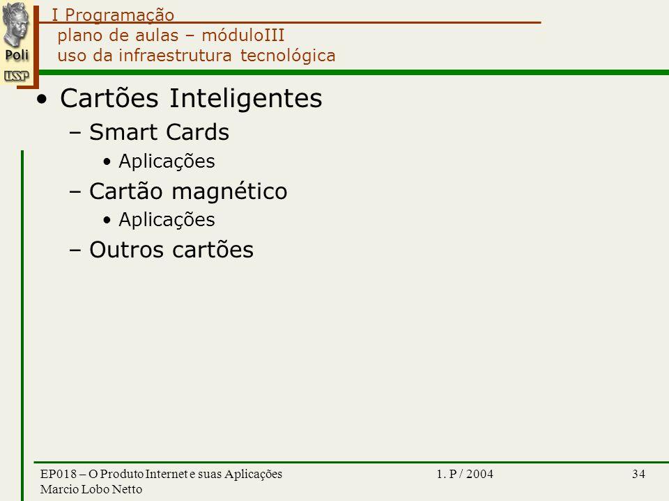 I Programação 1. P / 2004EP018 – O Produto Internet e suas Aplicações Marcio Lobo Netto 34 plano de aulas – móduloIII uso da infraestrutura tecnológic