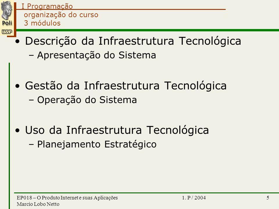 I Programação 1. P / 2004EP018 – O Produto Internet e suas Aplicações Marcio Lobo Netto 5 organização do curso 3 módulos Descrição da Infraestrutura T