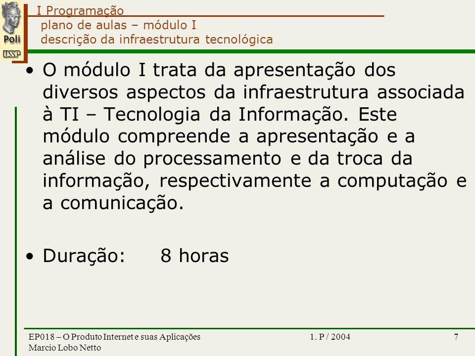 I Programação 1. P / 2004EP018 – O Produto Internet e suas Aplicações Marcio Lobo Netto 7 plano de aulas – módulo I descrição da infraestrutura tecnol