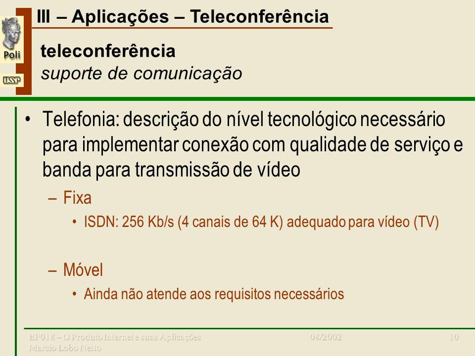 III – Aplicações – Teleconferência 08/2002EP018 – O Produto Internet e suas Aplicações Marcio Lobo Netto 10 teleconferência suporte de comunicação Tel