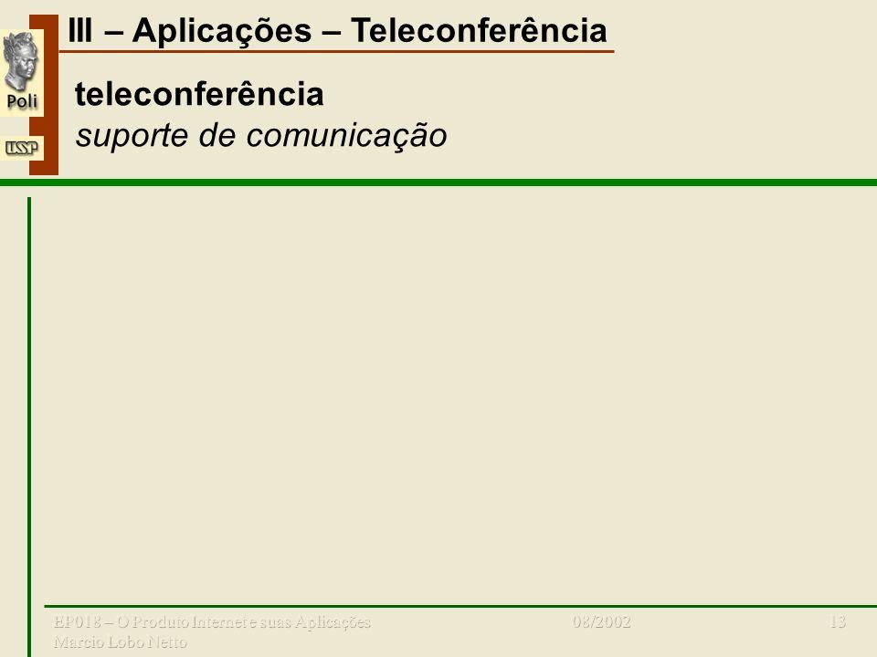 III – Aplicações – Teleconferência 08/2002EP018 – O Produto Internet e suas Aplicações Marcio Lobo Netto 13 teleconferência suporte de comunicação