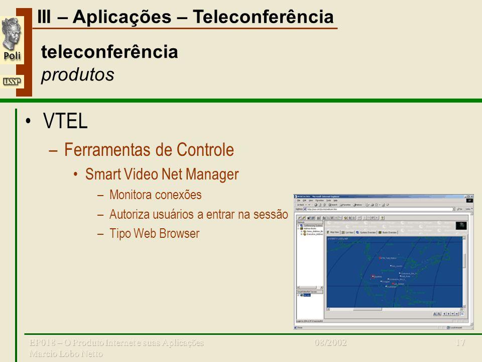 III – Aplicações – Teleconferência 08/2002EP018 – O Produto Internet e suas Aplicações Marcio Lobo Netto 17 teleconferência produtos VTEL –Ferramentas