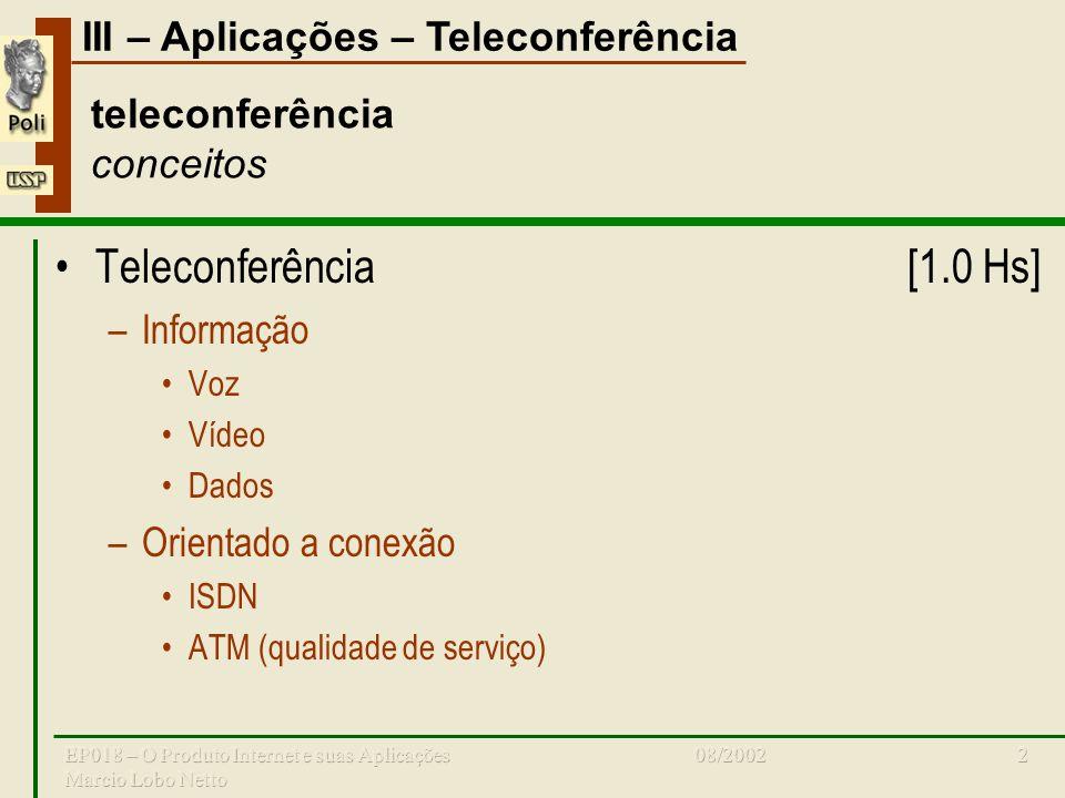 III – Aplicações – Teleconferência 08/2002EP018 – O Produto Internet e suas Aplicações Marcio Lobo Netto 2 teleconferência conceitos Teleconferência[1.0 Hs] –Informação Voz Vídeo Dados –Orientado a conexão ISDN ATM (qualidade de serviço)