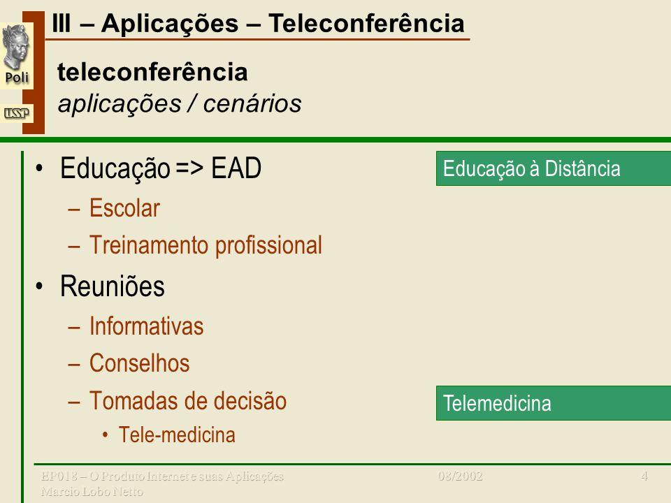 III – Aplicações – Teleconferência 08/2002EP018 – O Produto Internet e suas Aplicações Marcio Lobo Netto 15 teleconferência produtos VTEL –Estações Vista MX, VX, PROMXVXPRO