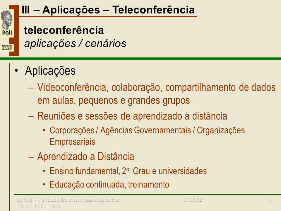 III – Aplicações – Teleconferência 08/2002EP018 – O Produto Internet e suas Aplicações Marcio Lobo Netto 5 teleconferência aplicações / cenários Aplic