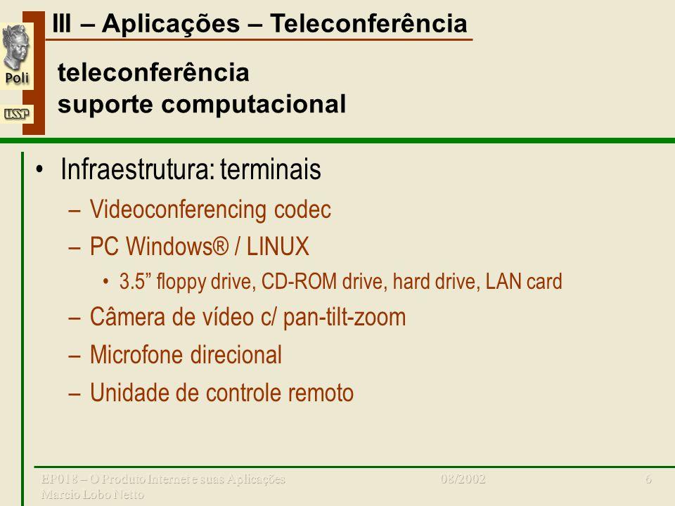 III – Aplicações – Teleconferência 08/2002EP018 – O Produto Internet e suas Aplicações Marcio Lobo Netto 6 teleconferência suporte computacional Infraestrutura: terminais –Videoconferencing codec –PC Windows® / LINUX 3.5 floppy drive, CD-ROM drive, hard drive, LAN card –Câmera de vídeo c/ pan-tilt-zoom –Microfone direcional –Unidade de controle remoto