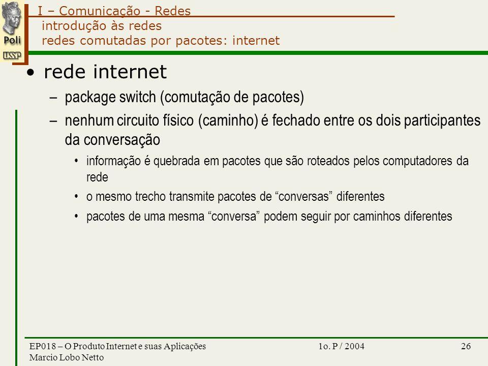 I – Comunicação - Redes 1o.