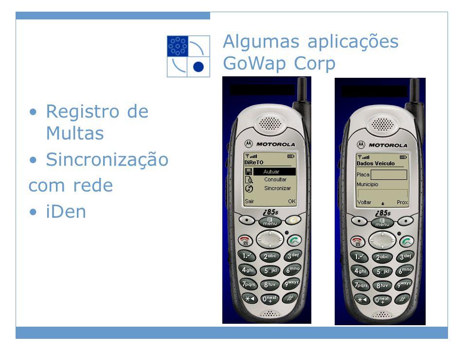 Algumas aplicações GoWap Corp Registro de Multas Sincronização com rede iDen