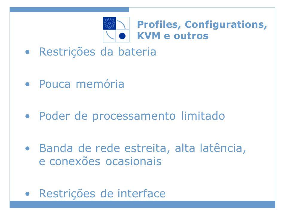 Profiles, Configurations, KVM e outros Restrições da bateria Pouca memória Poder de processamento limitado Banda de rede estreita, alta latência, e conexões ocasionais Restrições de interface