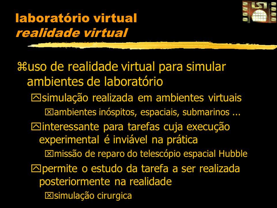 laboratório virtual realidade virtual zuso de realidade virtual para simular ambientes de laboratório ysimulação realizada em ambientes virtuais xambientes inóspitos, espaciais, submarinos...