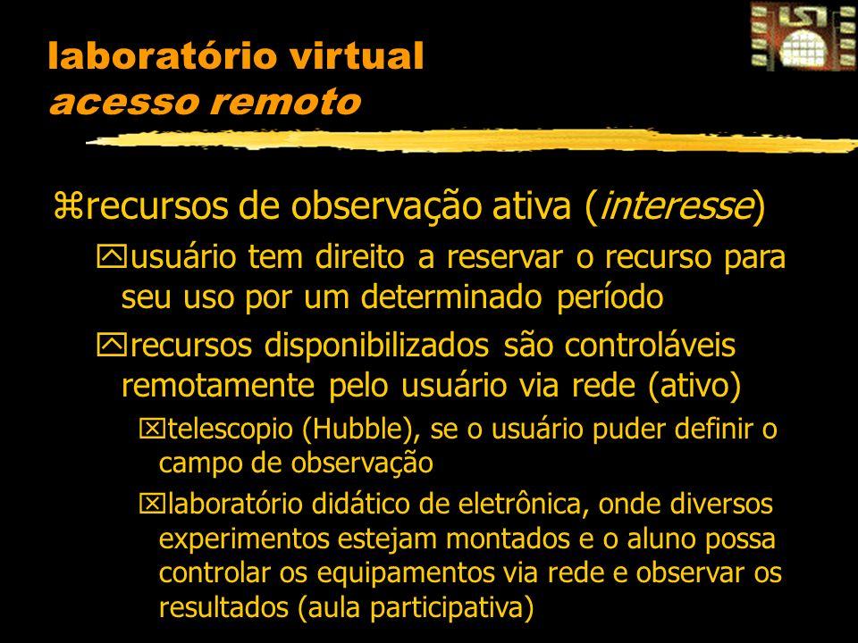 laboratório virtual acesso remoto zrecursos de observação ativa (interesse) yusuário tem direito a reservar o recurso para seu uso por um determinado