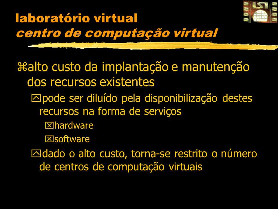 laboratório virtual centro de computação virtual zalto custo da implantação e manutenção dos recursos existentes ypode ser diluído pela disponibilização destes recursos na forma de serviços xhardware xsoftware ydado o alto custo, torna-se restrito o número de centros de computação virtuais