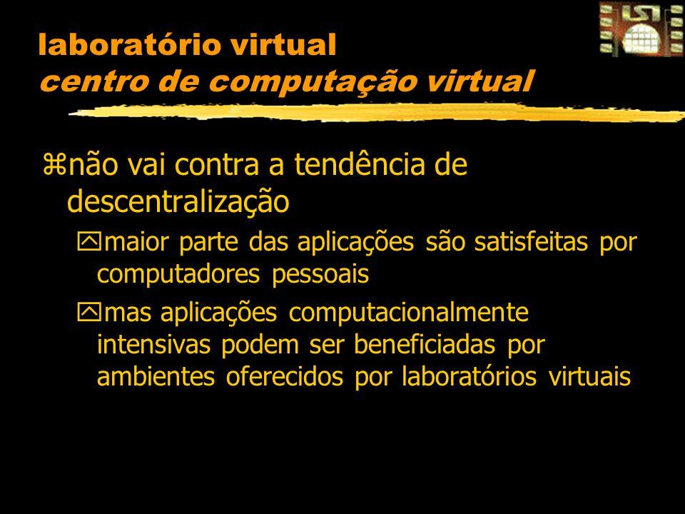 laboratório virtual centro de computação virtual znão vai contra a tendência de descentralização ymaior parte das aplicações são satisfeitas por computadores pessoais ymas aplicações computacionalmente intensivas podem ser beneficiadas por ambientes oferecidos por laboratórios virtuais