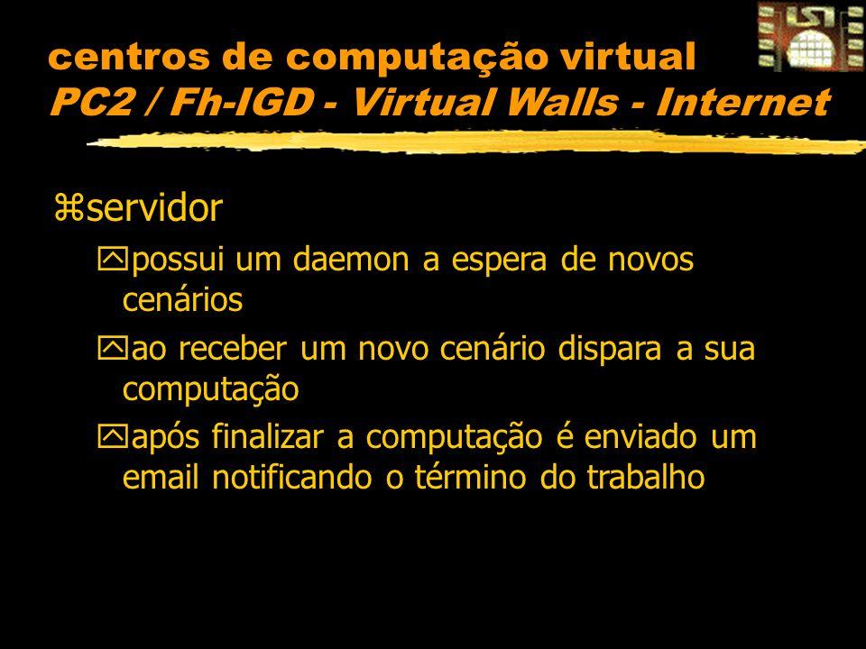 centros de computação virtual PC2 / Fh-IGD - Virtual Walls - Internet zservidor ypossui um daemon a espera de novos cenários yao receber um novo cenário dispara a sua computação yapós finalizar a computação é enviado um email notificando o término do trabalho