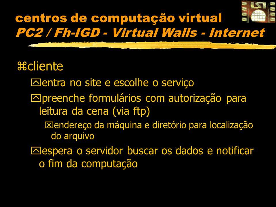 centros de computação virtual PC2 / Fh-IGD - Virtual Walls - Internet zcliente yentra no site e escolhe o serviço ypreenche formulários com autorização para leitura da cena (via ftp) xendereço da máquina e diretório para localização do arquivo yespera o servidor buscar os dados e notificar o fim da computação