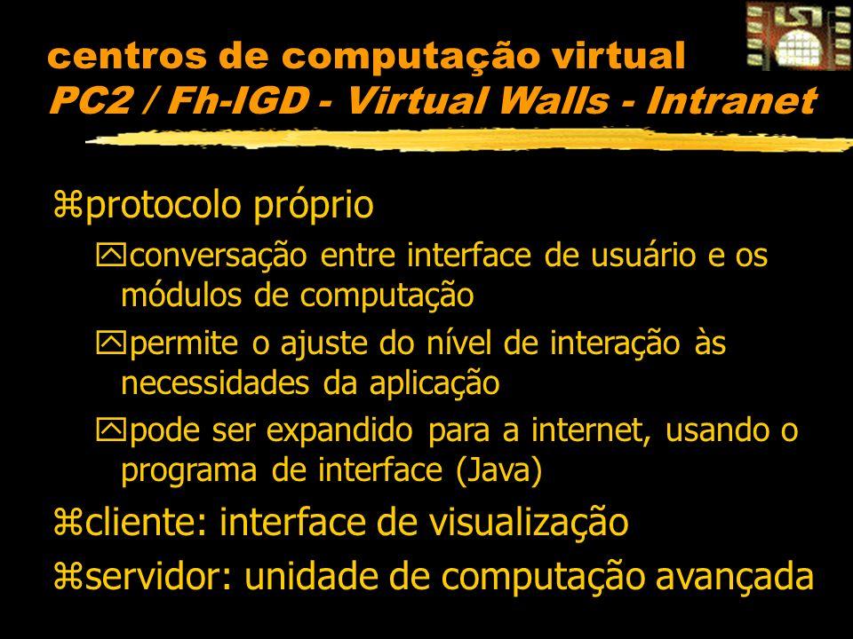 centros de computação virtual PC2 / Fh-IGD - Virtual Walls - Intranet zprotocolo próprio yconversação entre interface de usuário e os módulos de computação ypermite o ajuste do nível de interação às necessidades da aplicação ypode ser expandido para a internet, usando o programa de interface (Java) zcliente: interface de visualização zservidor: unidade de computação avançada
