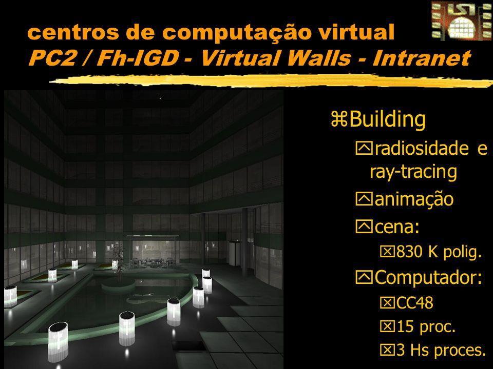 centros de computação virtual PC2 / Fh-IGD - Virtual Walls - Intranet zBuilding yradiosidade e ray-tracing yanimação ycena: x830 K polig.