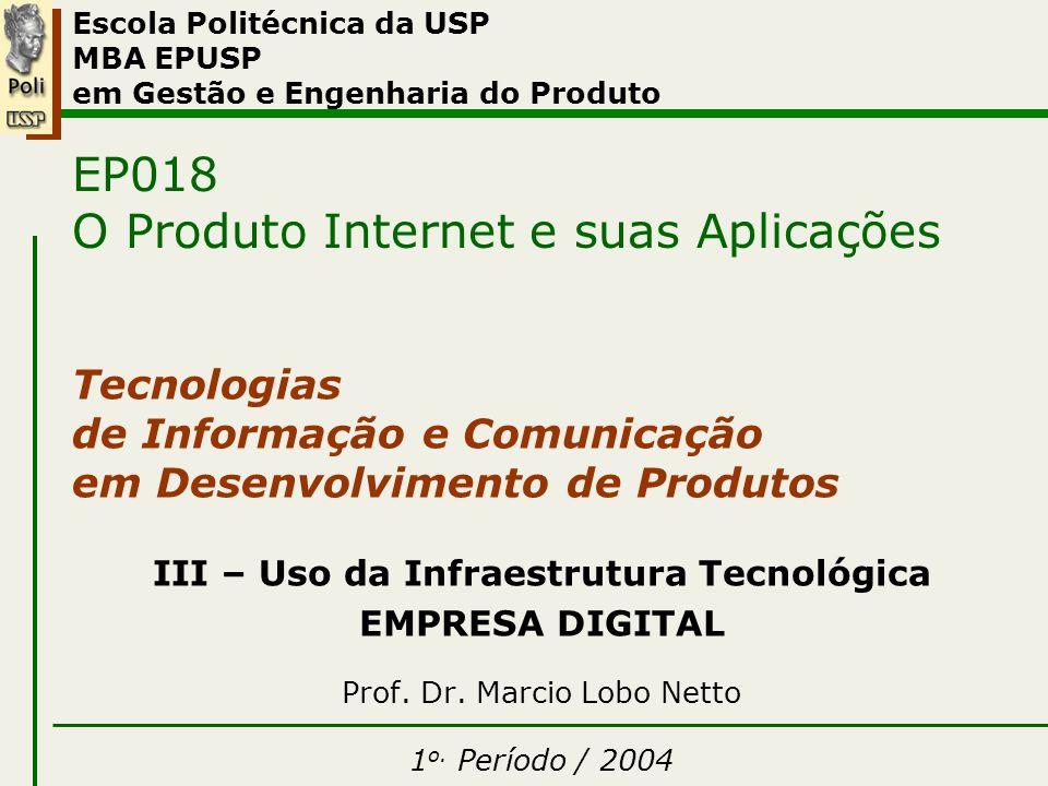 III – Uso Infraestrutura – Empresa Digital 08/2002EP018 – O Produto Internet e suas Aplicações Marcio Lobo Netto 12 reestruturação realidade do mercado o que existe no setor.