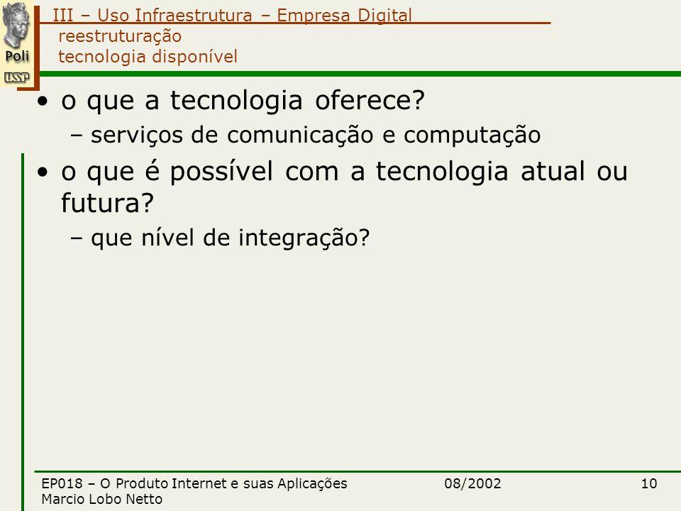 III – Uso Infraestrutura – Empresa Digital 08/2002EP018 – O Produto Internet e suas Aplicações Marcio Lobo Netto 10 reestruturação tecnologia disponível o que a tecnologia oferece.
