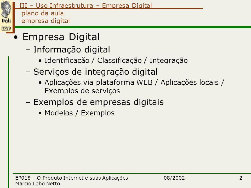 III – Uso Infraestrutura – Empresa Digital 08/2002EP018 – O Produto Internet e suas Aplicações Marcio Lobo Netto 13 reestruturação tecnologia da informação ferramenta para se atingir objetivos –qualidade –agilidade –flexibilidade (custom made) –velocidade –competitividade