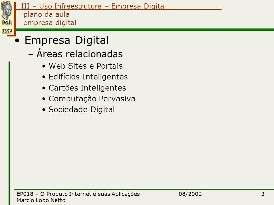 III – Uso Infraestrutura – Empresa Digital 08/2002EP018 – O Produto Internet e suas Aplicações Marcio Lobo Netto 14 empresa digital informação digital Informação digital –Identificação / Classificação / Integração