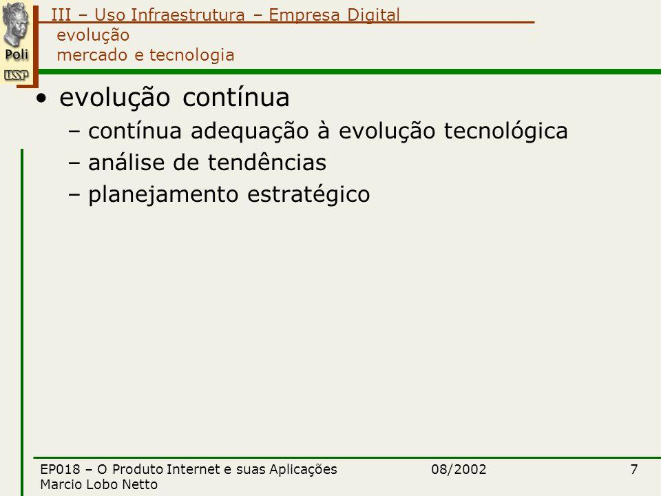 III – Uso Infraestrutura – Empresa Digital 08/2002EP018 – O Produto Internet e suas Aplicações Marcio Lobo Netto 18 Empresa digital áreas relacionadas (abordadas em outros módulos) Websites e portais Edifícios Inteligentes Cartões Inteligentes Computação Pervasiva Sociedade Digital
