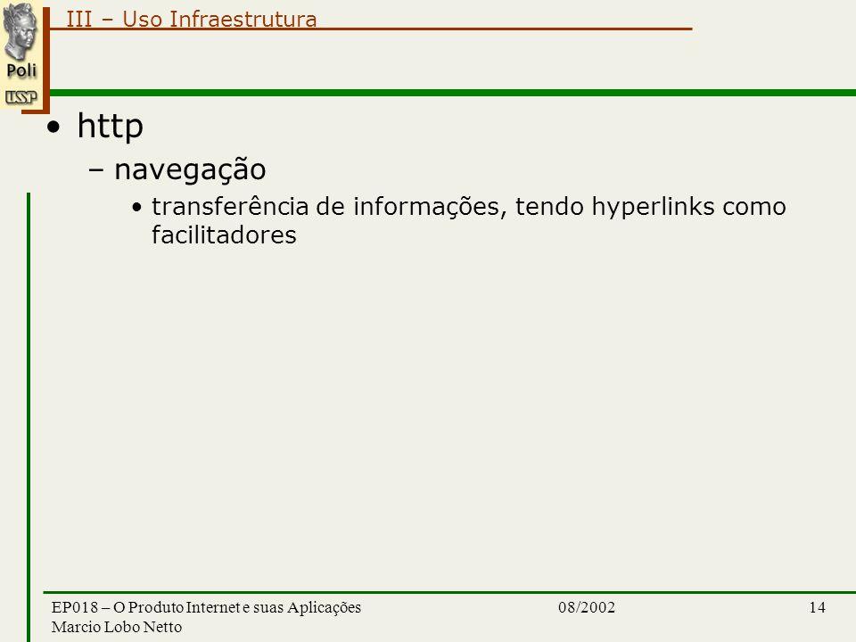 III – Uso Infraestrutura 08/2002EP018 – O Produto Internet e suas Aplicações Marcio Lobo Netto 14 http –navegação transferência de informações, tendo hyperlinks como facilitadores