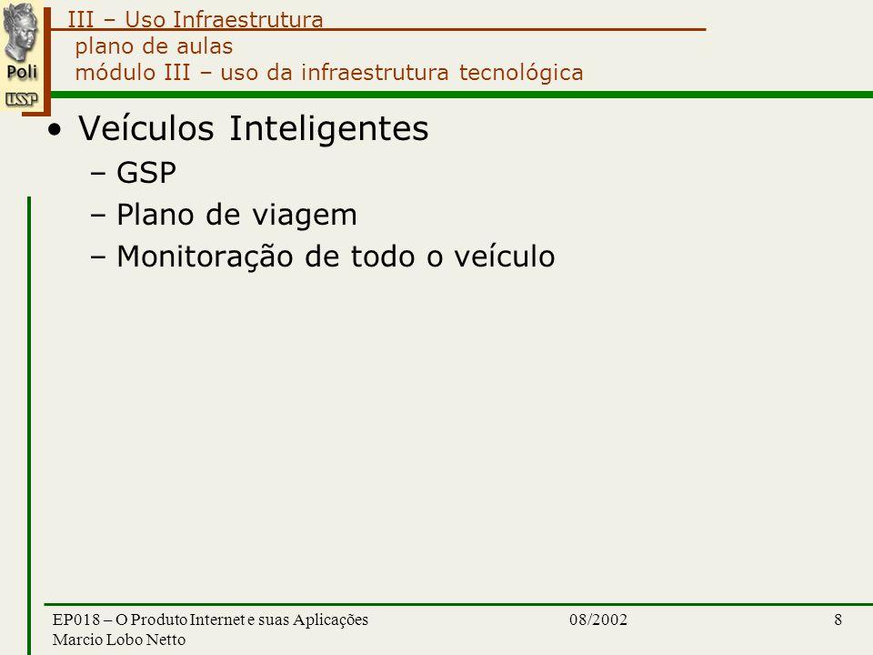 III – Uso Infraestrutura 08/2002EP018 – O Produto Internet e suas Aplicações Marcio Lobo Netto 8 plano de aulas módulo III – uso da infraestrutura tecnológica Veículos Inteligentes –GSP –Plano de viagem –Monitoração de todo o veículo