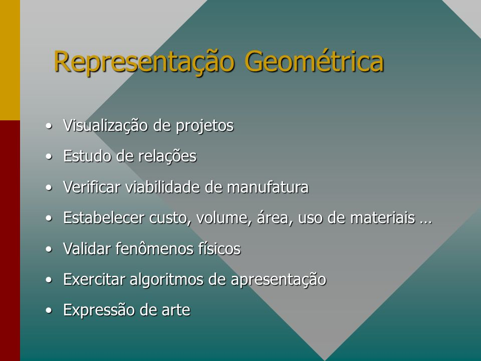 Modeladores Baseados em Scripts #VRML 2.0 Shape { appearance Appearance { material Material { } } geometry Cylinder { radius 2.0 height 4.0 }