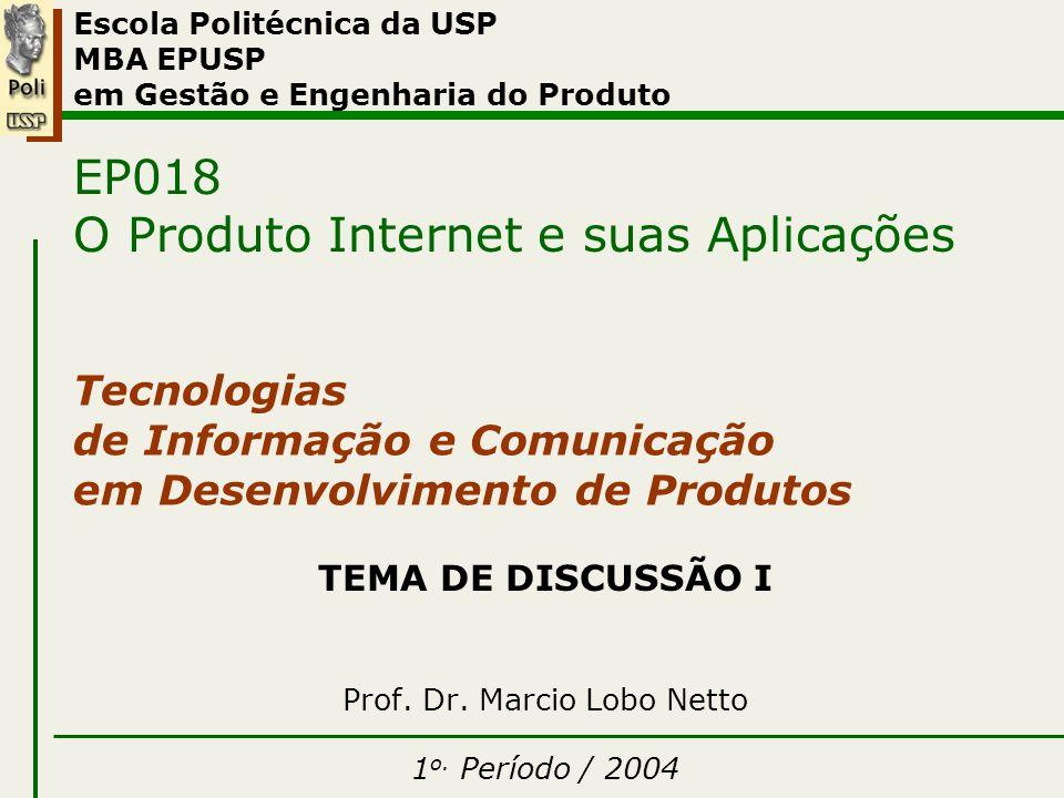 Tema I TEMA DE DISCUSSÃO I Prof. Dr. Marcio Lobo Netto 1 o. Período / 2004 Escola Politécnica da USP MBA EPUSP em Gestão e Engenharia do Produto EP018