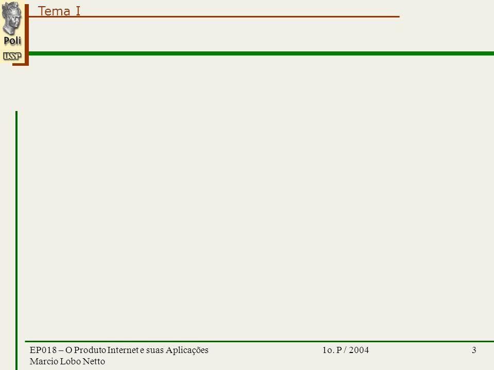 Tema I 1o. P / 2004EP018 – O Produto Internet e suas Aplicações Marcio Lobo Netto 3