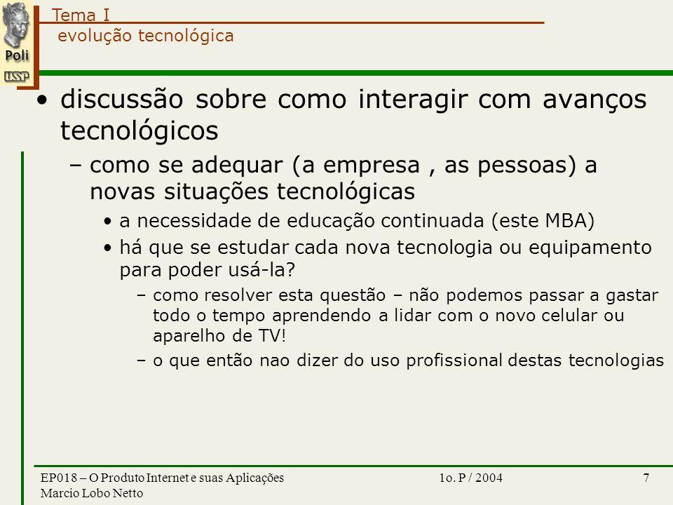 Tema I 1o. P / 2004EP018 – O Produto Internet e suas Aplicações Marcio Lobo Netto 7 evolução tecnológica discussão sobre como interagir com avanços te