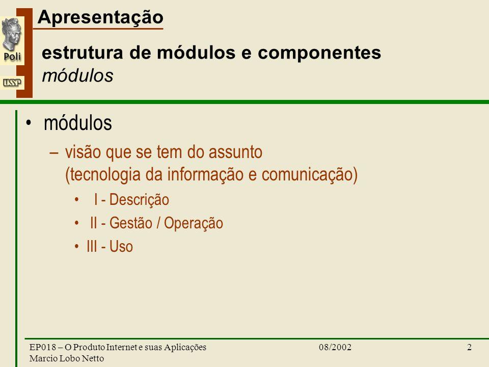 Apresentação 08/2002EP018 – O Produto Internet e suas Aplicações Marcio Lobo Netto 2 estrutura de módulos e componentes módulos módulos –visão que se tem do assunto (tecnologia da informação e comunicação) I - Descrição II - Gestão / Operação III - Uso