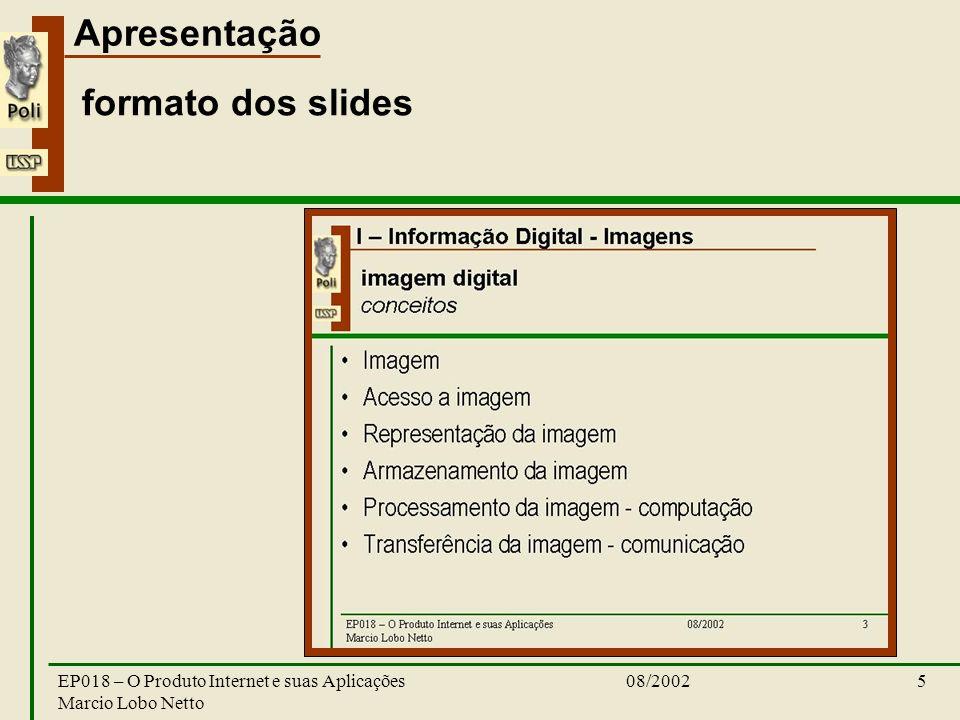 Apresentação 08/2002EP018 – O Produto Internet e suas Aplicações Marcio Lobo Netto 5 formato dos slides