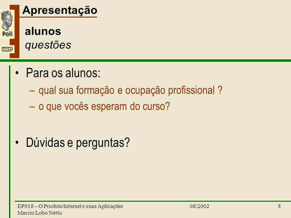 Apresentação 08/2002EP018 – O Produto Internet e suas Aplicações Marcio Lobo Netto 8 alunos questões Para os alunos: –qual sua formação e ocupação profissional .