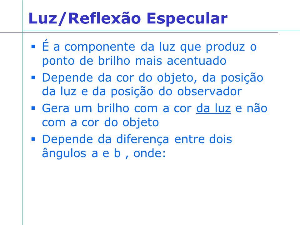 Luz/Reflexão Especular É a componente da luz que produz o ponto de brilho mais acentuado Depende da cor do objeto, da posição da luz e da posição do o