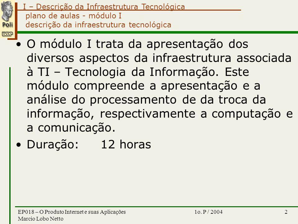 I – Descrição da Infraestrutura Tecnológica 1o.