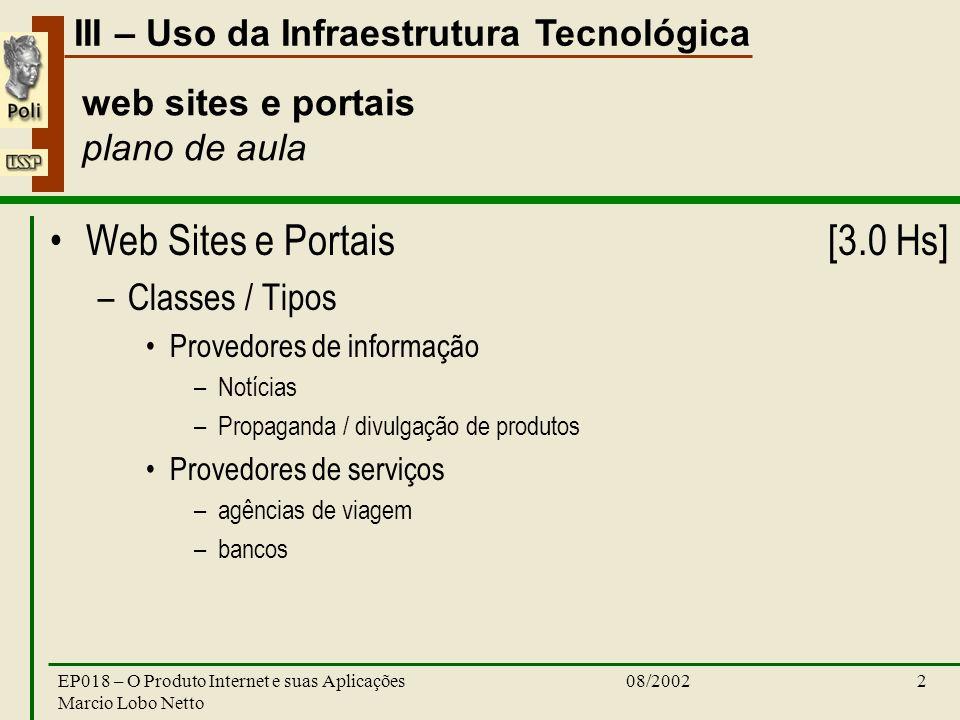 III – Uso da Infraestrutura Tecnológica 08/2002EP018 – O Produto Internet e suas Aplicações Marcio Lobo Netto 2 web sites e portais plano de aula Web