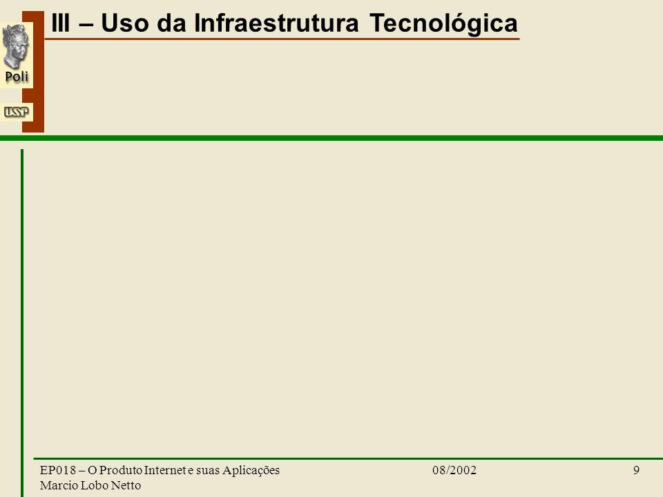 III – Uso da Infraestrutura Tecnológica 08/2002EP018 – O Produto Internet e suas Aplicações Marcio Lobo Netto 9