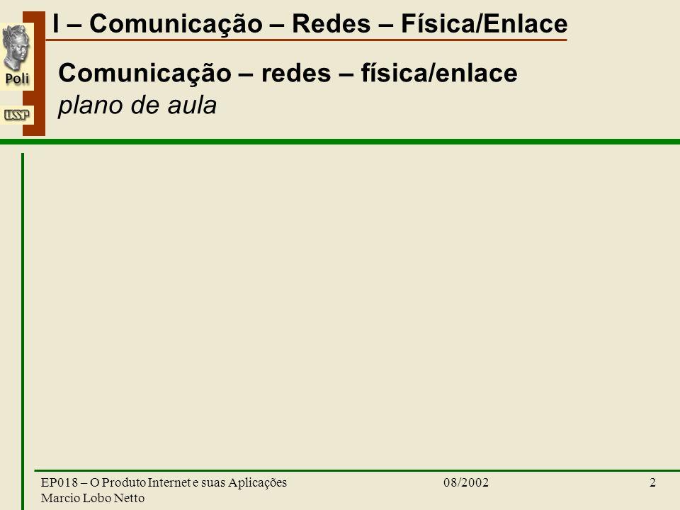 I – Comunicação – Redes – Física/Enlace 08/2002EP018 – O Produto Internet e suas Aplicações Marcio Lobo Netto 2 Comunicação – redes – física/enlace plano de aula