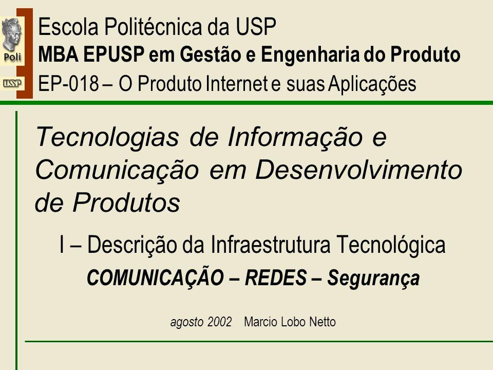 I – Comunicação – Redes – Segurança 08/2002EP018 – O Produto Internet e suas Aplicações Marcio Lobo Netto 2 Comunicação - redes plano de aula